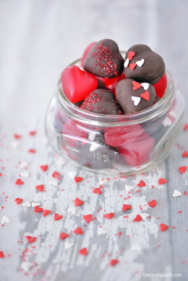 Gummy Hearts Covered With Chocolate