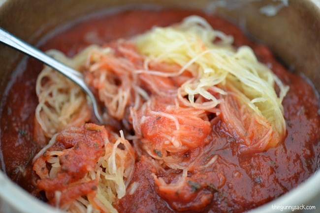 Spaghetti Squash Mixed With Sauce