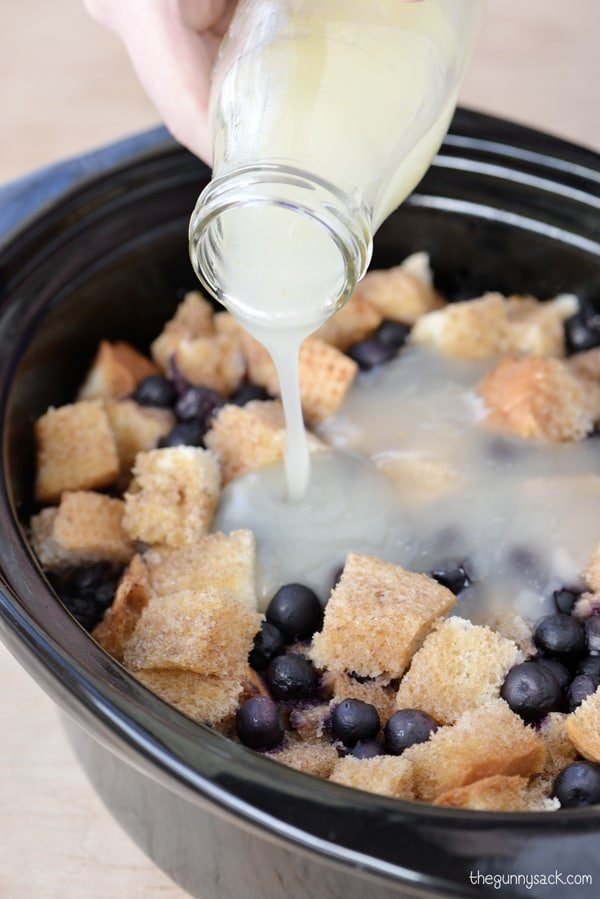 Blueberry Bread Pudding with Lemon Sauce