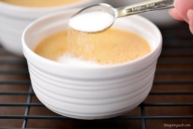 sprinkle sugar on custard