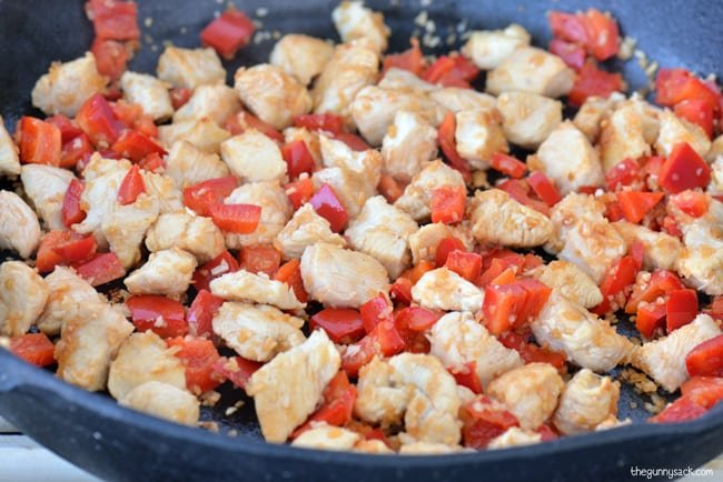 Chicken and Peppers In Pan
