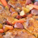 Oven Roasted Pork Chops with potatoes and carrots