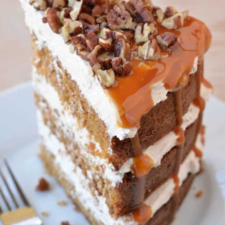 Caramel Pecan Carrot Cake Slice