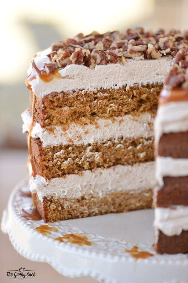 Caramel Carrot Cake with Pecans