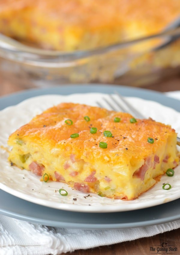 Ham and Potato Breakfast Casserole On Plate