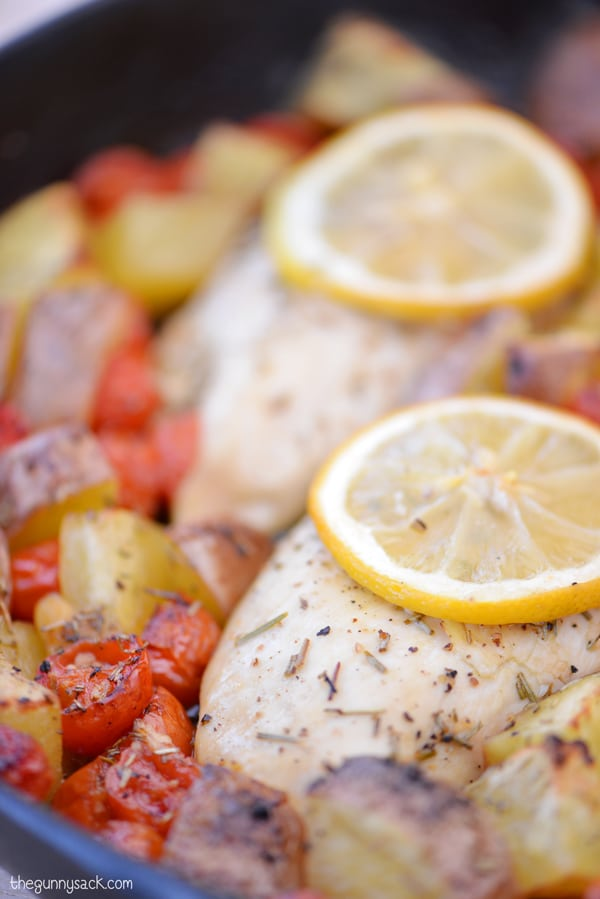 This easy dinner recipe for oven roasted lemon garlic chicken with ...