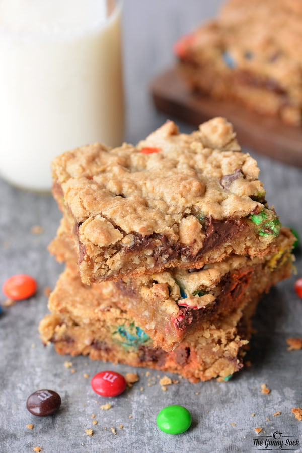 Stack of Monster Cookie Bars