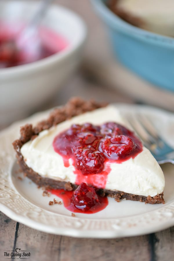 Cheesecake Slice with Raspberry Sauce