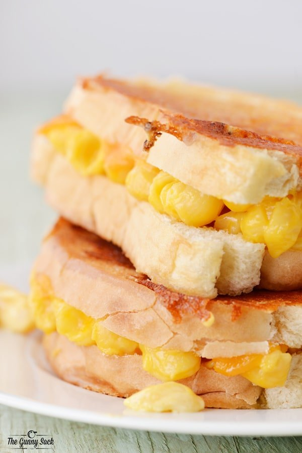 Grilled Macaroni and Cheese Sandwich Stack