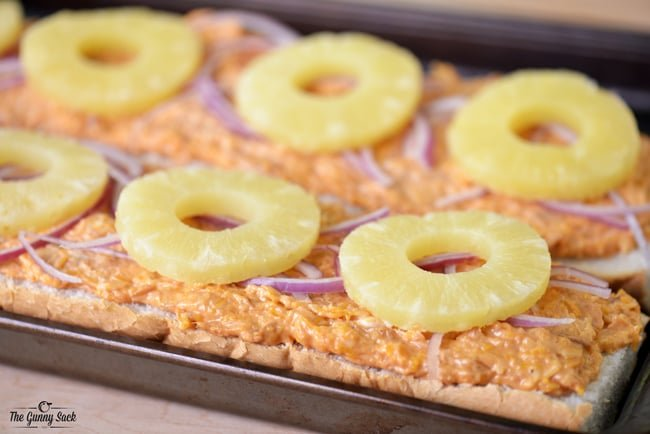 Pineapple Slices on Hawaiian Barbecue French Bread Pizza