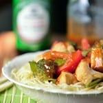 Chicken Vegetable Stir Fry in a white bowl