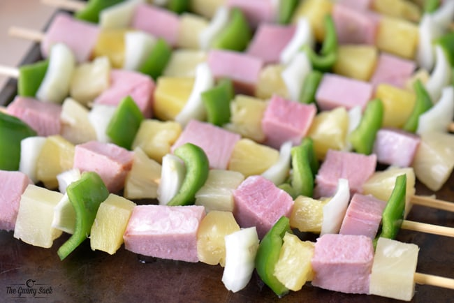 ham, fruit and veggies on skewers