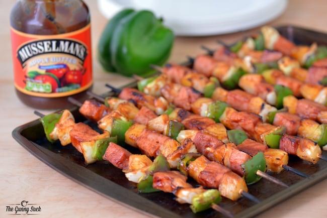 Ham and Pineapple Kabobs on Pan