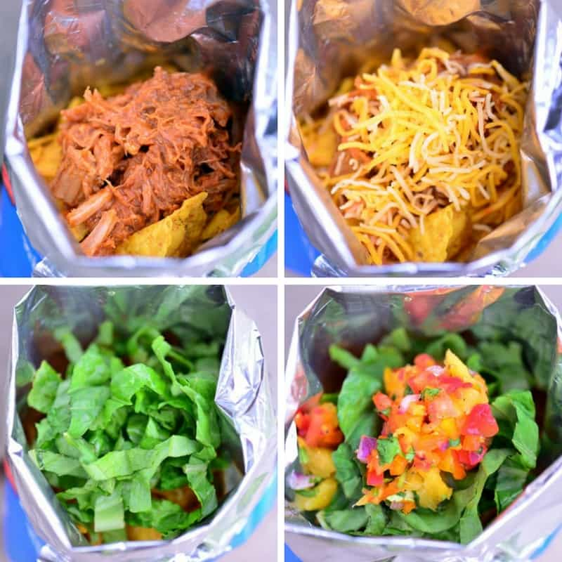 Hawaiian BBQ Pork Walking Taco Assembly
