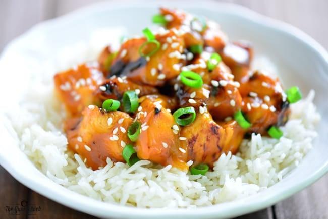Grilled Orange Chicken on rice