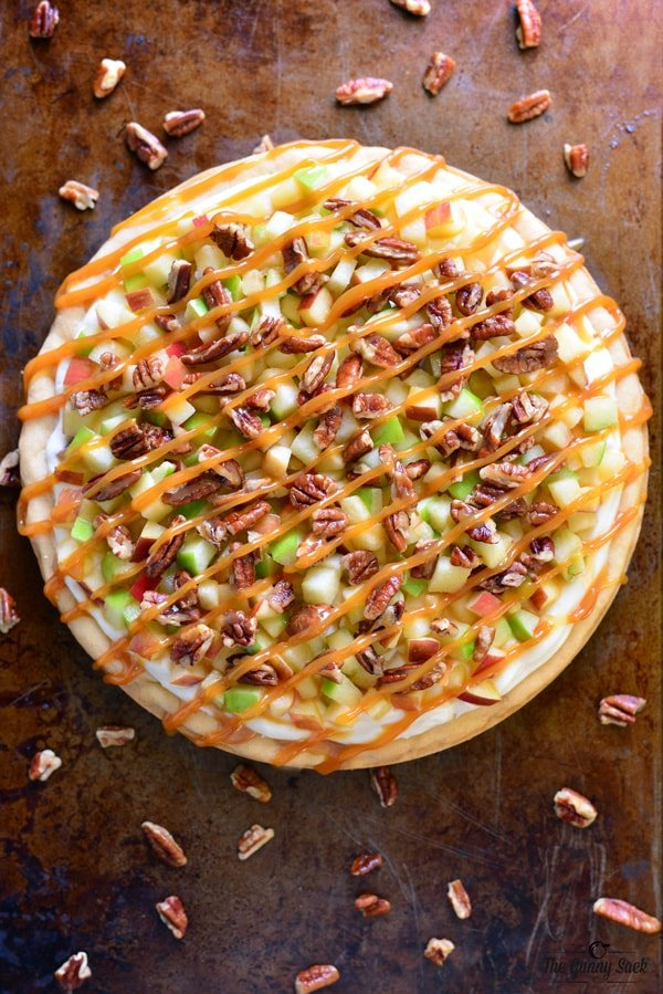 Caramel Apple and Pecan Fruit Pizza