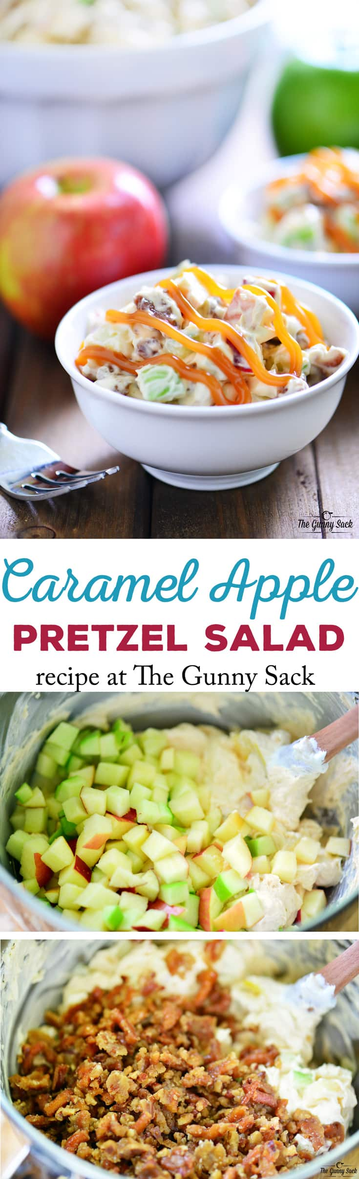 This Caramel Apple Pretzel Salad recipe is a delicious way to enjoy a taste of fall with crunchy apples, candied pretzels, and sweet caramel sauce.