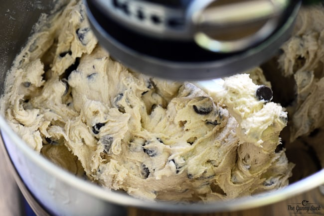 Chocolate Chip Cookie Dough in Mixer