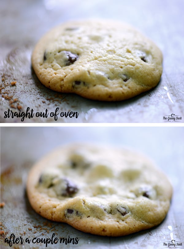 Chocolate Chip Cookies before and after cooking
