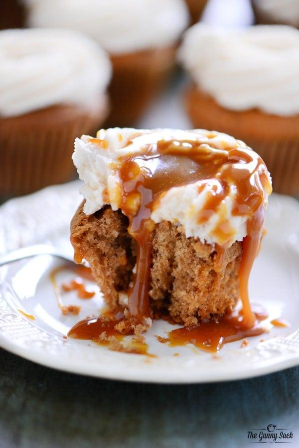 Warm Caramel Apple Cupcake On Plate