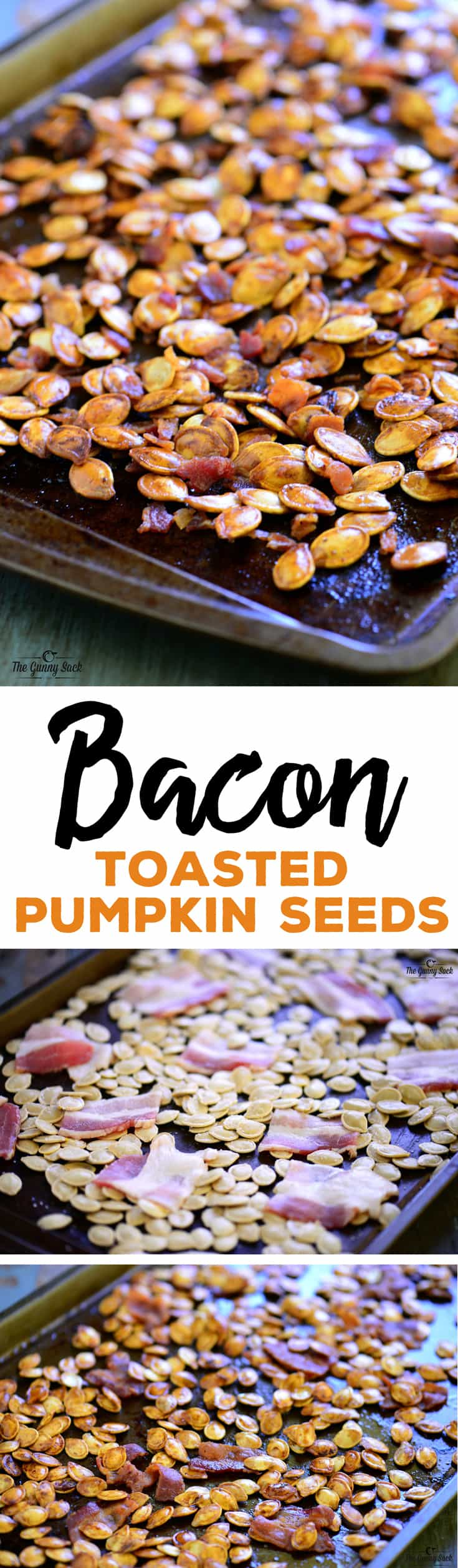 This crave-worthy Bacon Roasted Pumpkin Seeds recipe makes the best toasted pumpkin seeds EVER! Everyone will love this easy snack or appetizer with bacon! #bacon #jackolantern #Halloween