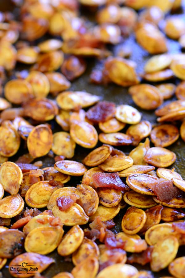 Close Up of Bacon Roasted Pumpkin Seeds