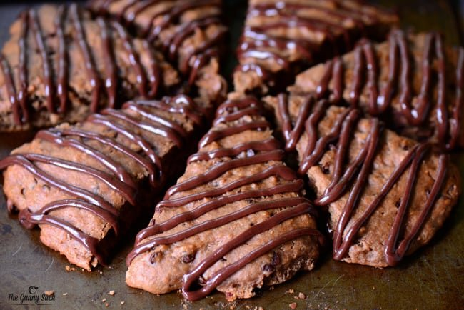 Chocolate Scones drizzled with chocolate