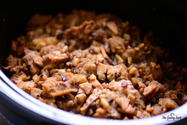apple walnut bread pudding in a slow cooker