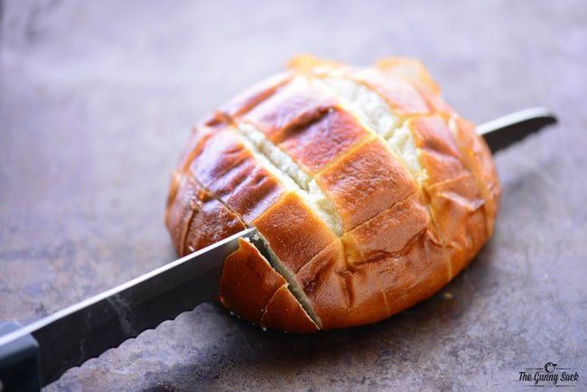 Slice pretzel bread
