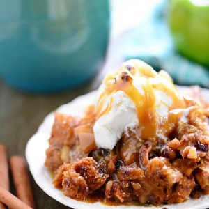 Slow Cooker Apple Walnut Bread Pudding Recipe