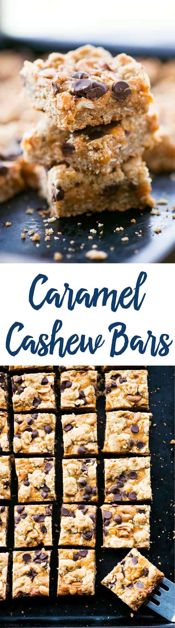 This Chewy Caramel Cashew Bars recipe is a delicious combination of salty and sweet with oats, caramel, chocolate, butterscotch and cashews!