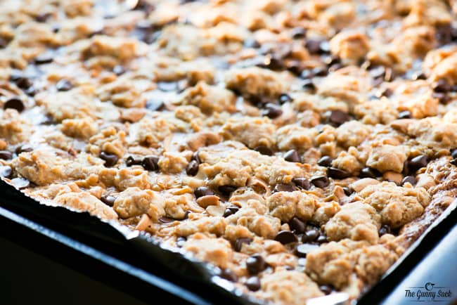 Chewy Caramel Bars baked in pan