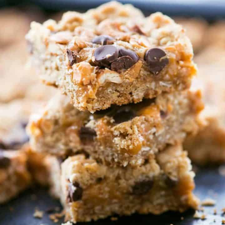 Chewy Caramel Cashew Bars Stack