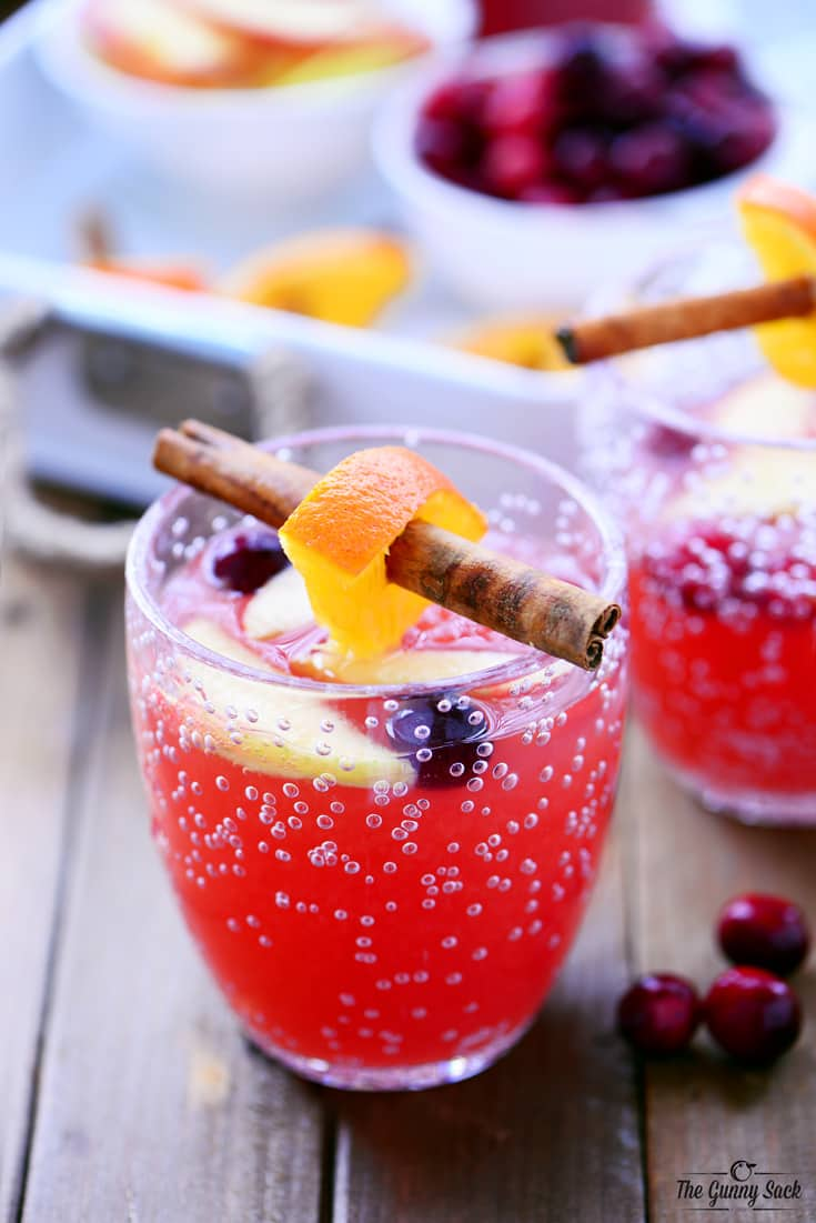 cranberry orange holiday punch in cups