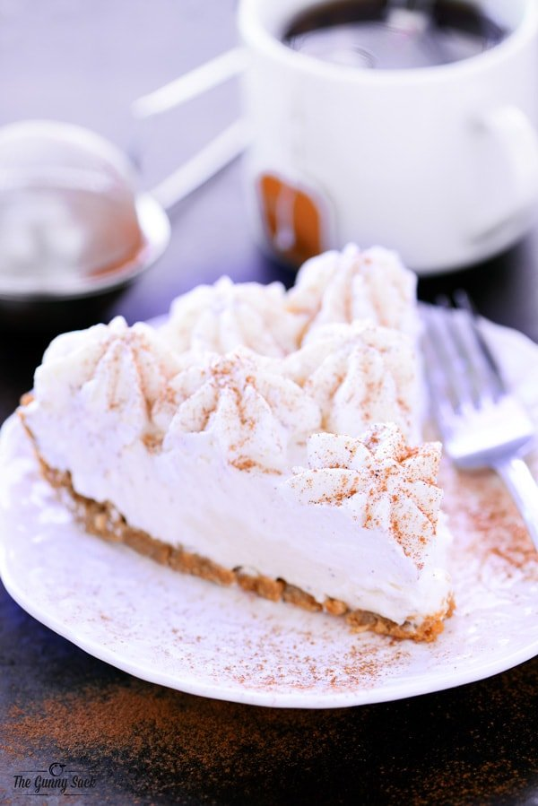 This holiday dessert recipe for No Bake Eggnog Cheesecake with a ...