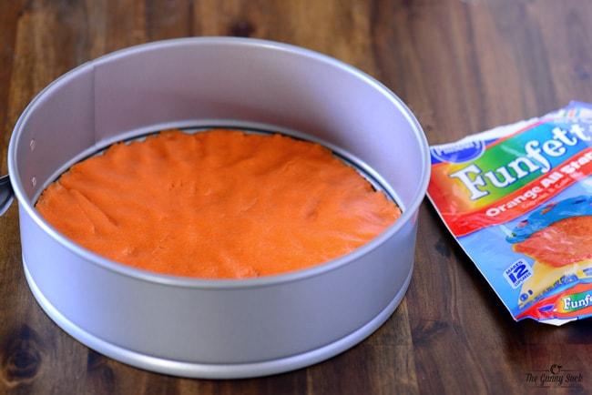 Funfetti Orange All Star Cake in pan