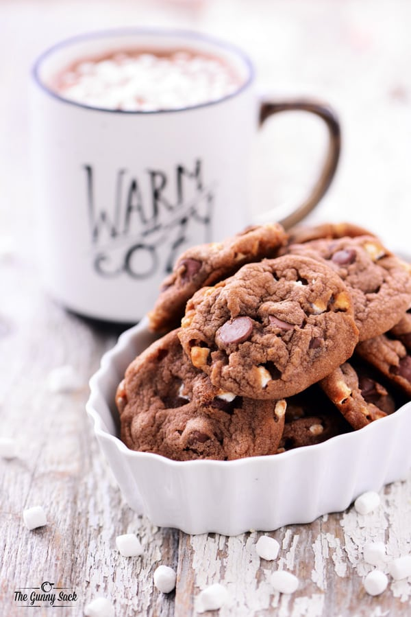Hot Chocolate Cookies Recipe With Chocolate Chips and Mini Marshmallows