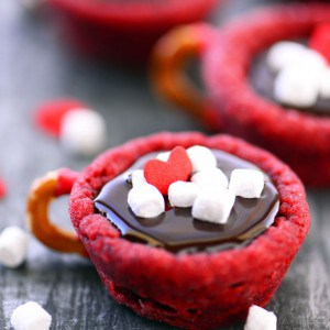 Red Velvet Hot Chocolate Cookie Cups Recipe Perfect For Valentine's Day