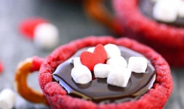 Red Velvet Hot Chocolate Cookie Cups