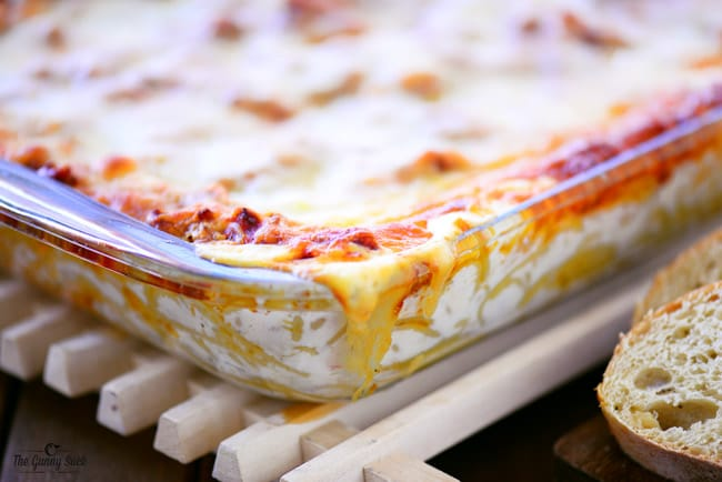 Baked Spaghetti Casserole cooling