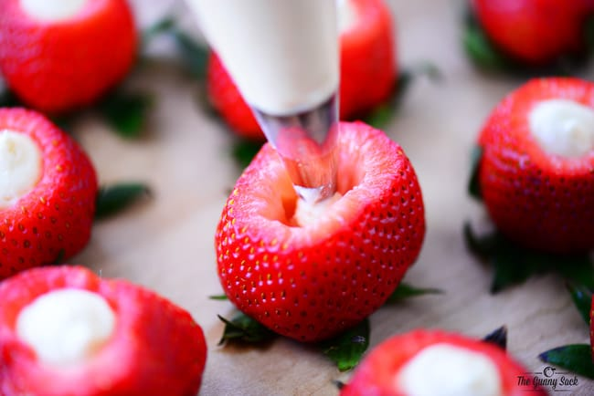 fill strawberries with cheesecake
