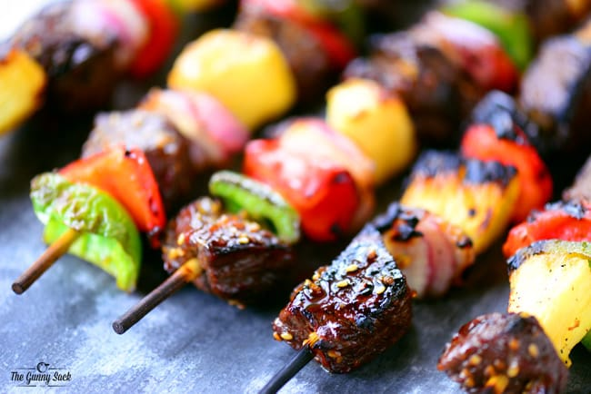 Grilled Steak Pineapple Peppers Kabobs