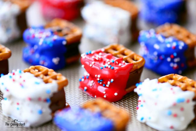 Red White and Blue Pretzel Bites with sprinkles