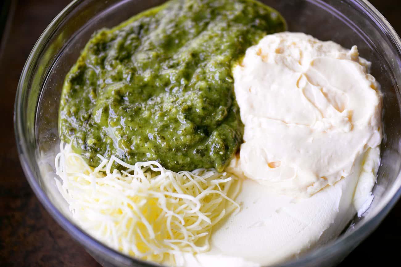 pesto, mozzarella cheese, cream cheese and mayo