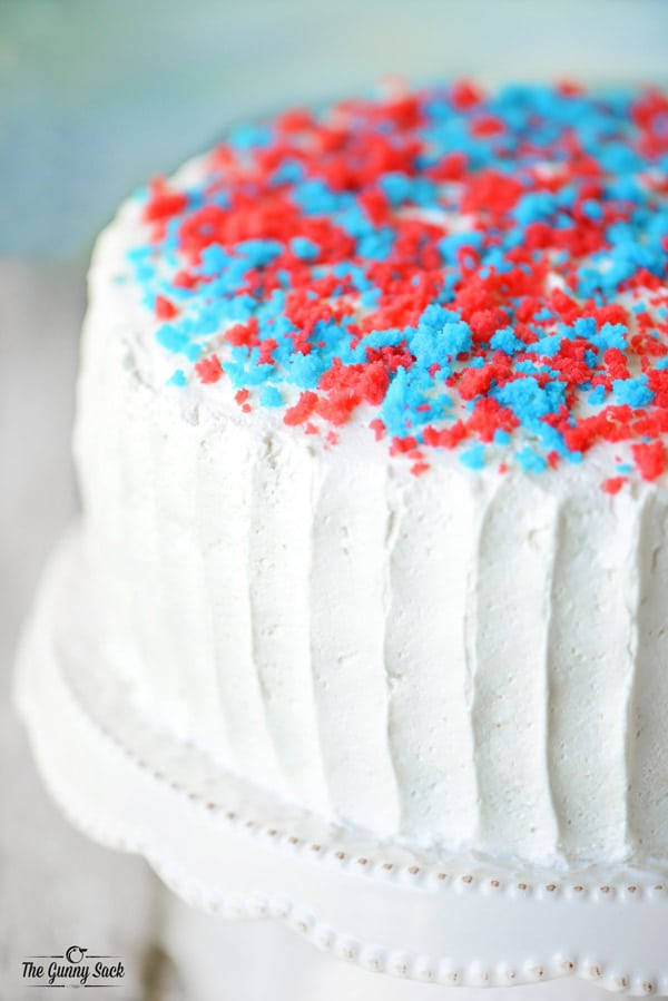 Red White and Blue Cake Crumbled on top