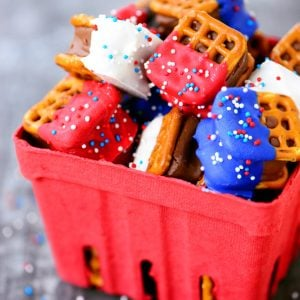 Red White and Blue Candy Bar Pretzel Bites