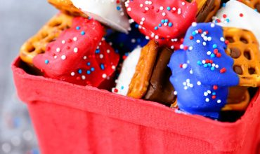 Red White and Blue Candy Bar Pretzel Bites