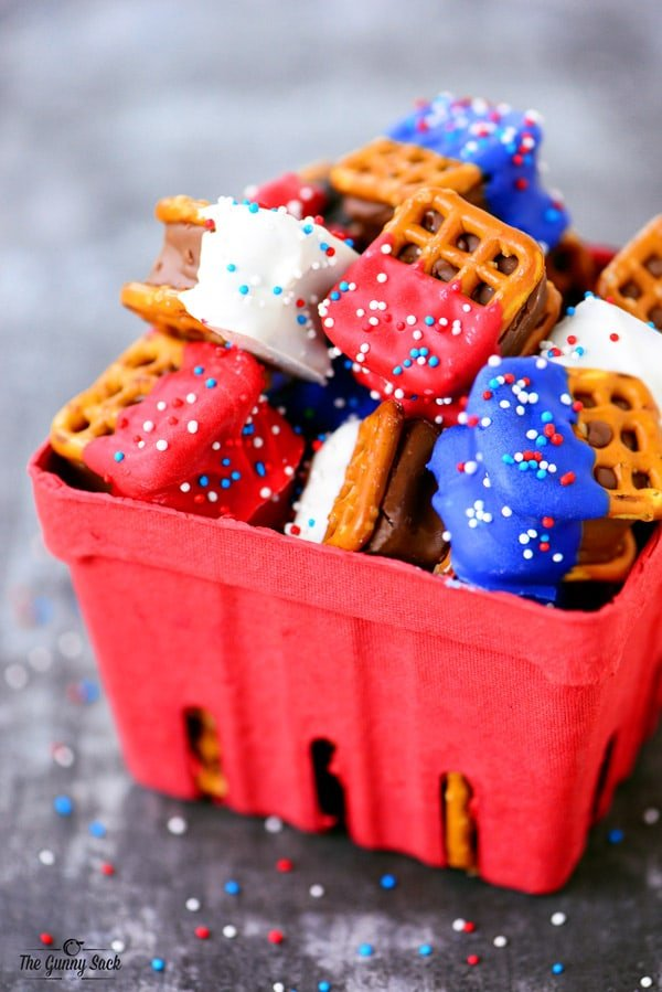 Red White and Blue Pretzel Bites in a berry basket