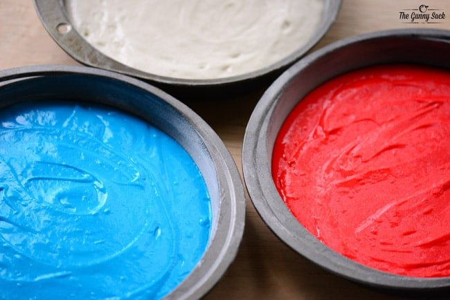 Red White and Blue Cake Batter In Pans
