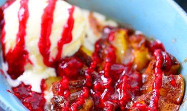 Bloomin' Peach Melba Recipe with ice cream and raspberry sauce